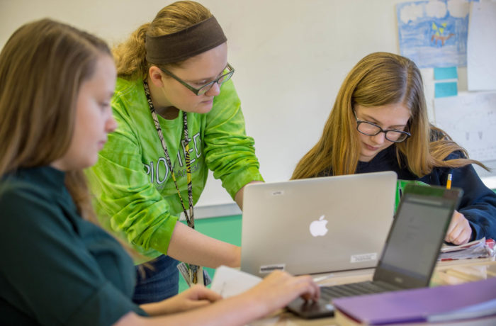 Female students learning together